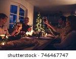 extended family toasting wine... | Shutterstock . vector #746467747