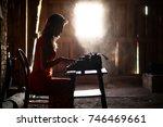 silhouette of a beautiful girl... | Shutterstock . vector #746469661