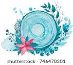 winter watercolor illustration. ...   Shutterstock . vector #746470201