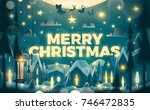 merry christmas greeting card... | Shutterstock .eps vector #746472835