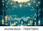 greeting card in cartoon style. ... | Shutterstock .eps vector #746472841