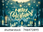 merry christmas greeting card... | Shutterstock .eps vector #746472895