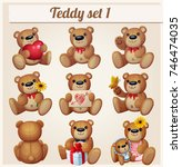 teddy bears set. part 1.... | Shutterstock . vector #746474035
