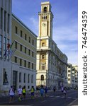 Small photo of Bari, Italy - October 29, 2017: athletes participating in the marathon run on the waterfront of Bari