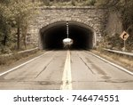 isolated tunnel in mountain.... | Shutterstock . vector #746474551