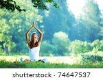 yoga woman   Shutterstock . vector #74647537