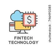 icon fintech technology. the... | Shutterstock .eps vector #746493385
