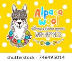 alpaca wool design template... | Shutterstock .eps vector #746495014