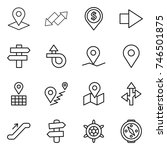 thin line icon set   pointer ... | Shutterstock .eps vector #746501875