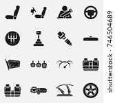 Set of car interior details vector icon isolated on white background. Includes seats, back seats, dashboard, transmission and safety belt. | Shutterstock vector #746504689