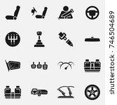 set of car interior details... | Shutterstock .eps vector #746504689