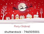paper cut and craft winter... | Shutterstock . vector #746505001