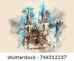 architecture and landmark of... | Shutterstock . vector #746512237
