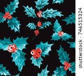 elegant winter seamless pattern ...   Shutterstock .eps vector #746515324