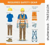 required safety gear. overalls. ... | Shutterstock .eps vector #746516134