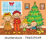 family christmas tree kids... | Shutterstock .eps vector #746519149