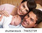 portrait of proud parents with... | Shutterstock . vector #74652739