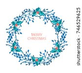 elegant christmas wreath with... | Shutterstock .eps vector #746529625