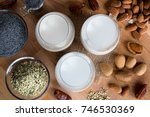 top view of three glasses of... | Shutterstock . vector #746530369