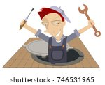 mechanic working in the sewer... | Shutterstock . vector #746531965
