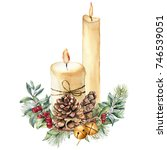Watercolor Christmas Candles...