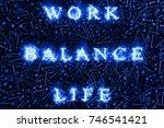 blue fire inscription   flaming ... | Shutterstock . vector #746541421