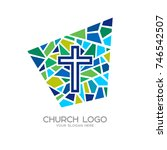 church logo. christian symbols. ... | Shutterstock .eps vector #746542507
