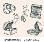 sketches of the wedding rings | Shutterstock .eps vector #746543317