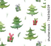 watercolor christmas seamless... | Shutterstock . vector #746546539