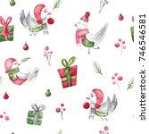 watercolor christmas bird...   Shutterstock . vector #746546581