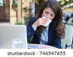 not again a fever. young woman... | Shutterstock . vector #746547655