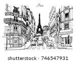 street in paris   sketch...   Shutterstock .eps vector #746547931