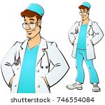 doctor in a white coat. | Shutterstock .eps vector #746554084