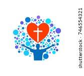 church logo. christian symbols. ...   Shutterstock .eps vector #746554321