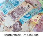 different mexican money bills...   Shutterstock . vector #746558485