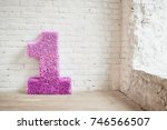 one year birthday decoration... | Shutterstock . vector #746566507