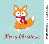 cute fox christmas holiday... | Shutterstock .eps vector #746568367