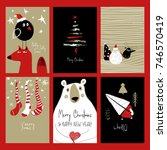 set of christmas greeting cards.... | Shutterstock .eps vector #746570419