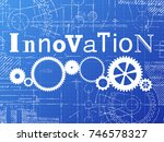 innovation sign and gear wheels ... | Shutterstock .eps vector #746578327