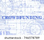 crowdfunding text with gear... | Shutterstock .eps vector #746578789