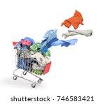 clothes flies from a shopping... | Shutterstock . vector #746583421