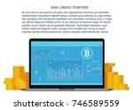 vector bitcoin flat concept... | Shutterstock .eps vector #746589559