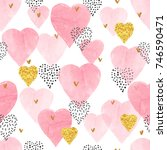 pink watercolor hearts pattern. ...   Shutterstock .eps vector #746590471