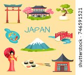 japan touristic concept. set of ...   Shutterstock . vector #746591521