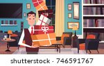 man holding pile of gift boxes... | Shutterstock .eps vector #746591767