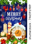 christmas candle greeting card... | Shutterstock .eps vector #746591989