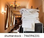 cleaning at the hotel, linen change clean sheets - stock photo