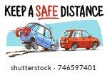 keep a safe distance | Shutterstock .eps vector #746597401