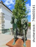 Small photo of LJUBLJANA, SLOVENIA - JUNE 28, 2015: Modern sculpture of Adam and Eve by the renowned Slovenian sculptor Jakov Brdar.