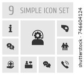 set of 9 support icons set... | Shutterstock .eps vector #746604124
